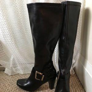 Black Franco Sarto Knee High Buckled Boots